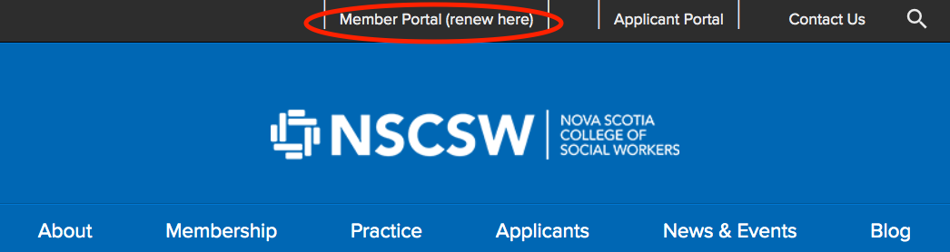 Screenshot of member portal link on NSCSW homepage