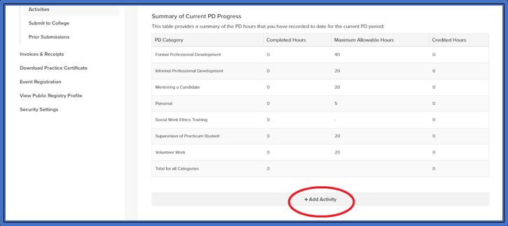 screenshot of add activity button in member portal