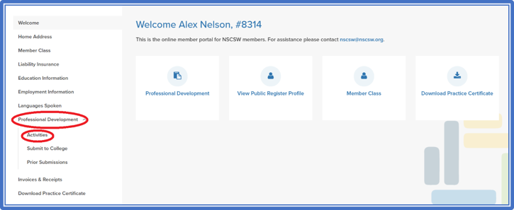 screenshot of professional development menu in member portal
