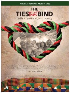 Poster for 2020 African Heritage Month theme in Nova Scotia (The Ties that Bind: Faith Family and Community)